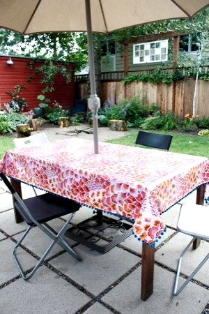 My Modern Domestic Life: Easy Coated Cotton Tablecloth With Ball Fringe  Tutorial | Modern Domestic