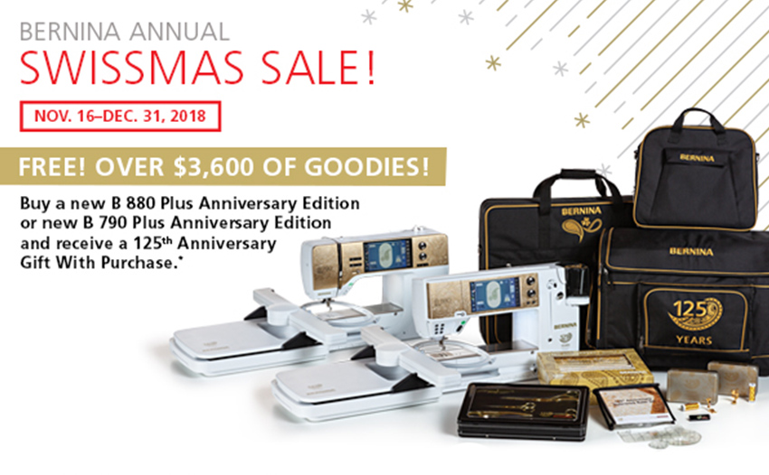 Get $3600 of free goodie with your BERNINA 880 Plus and 790 Plus
