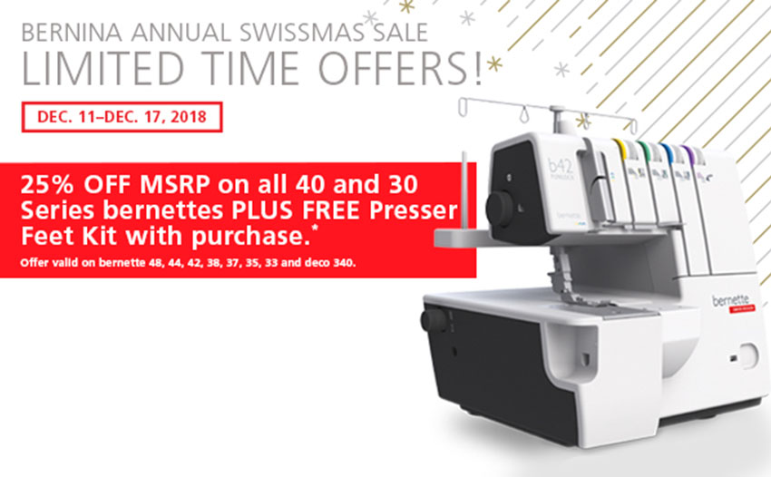 25% off MSRP on bernette sewing machines starting at $125