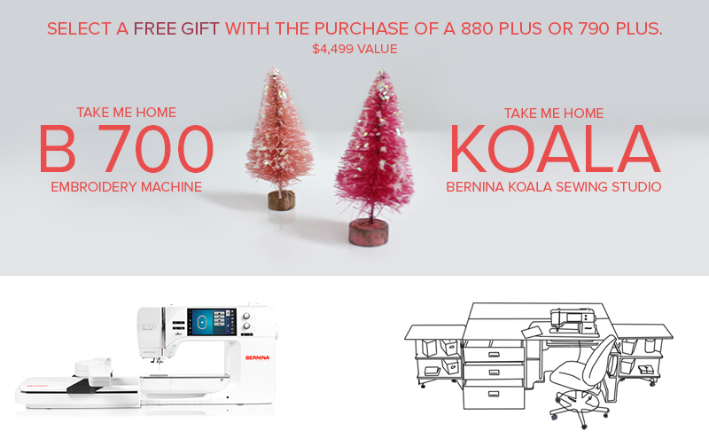 700 or koala free gift with purchase of BERNINA 790 Plus or 880 PLUS