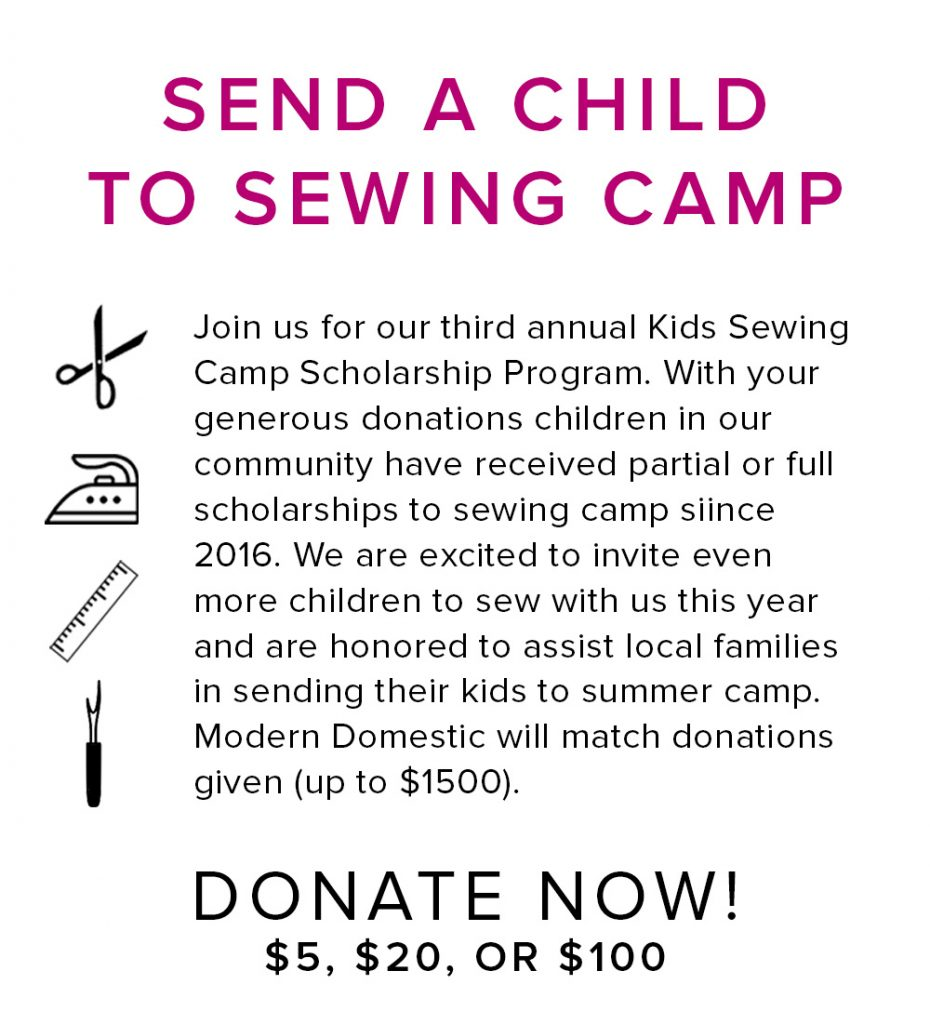 2018 kids sewing camp scholarship