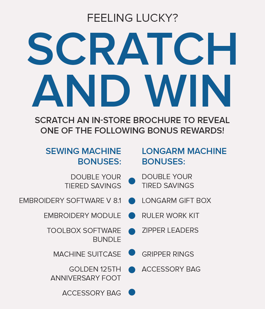 scratch and win bonuses - BERNINA savings at Modern Domestic, Portland, OR