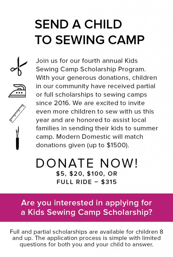 Donate now to send a child to sewing camp.