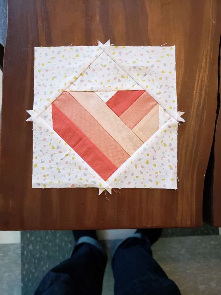 Free Modern Domestic Take Heart Quilt Block