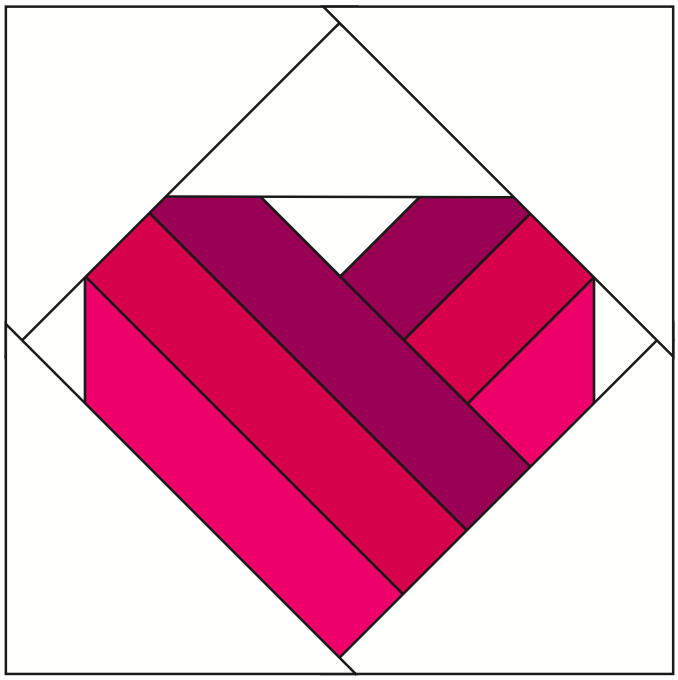 Take Heart Quilt Block Modern Domestic