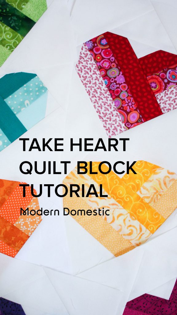 take heart quilt block video tutorial